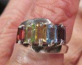 Sterling bagette gemstone ring- peridot stone ruby stone aquamarine ring gemstone garnet gemstone sterling silver family amethyst gemstone