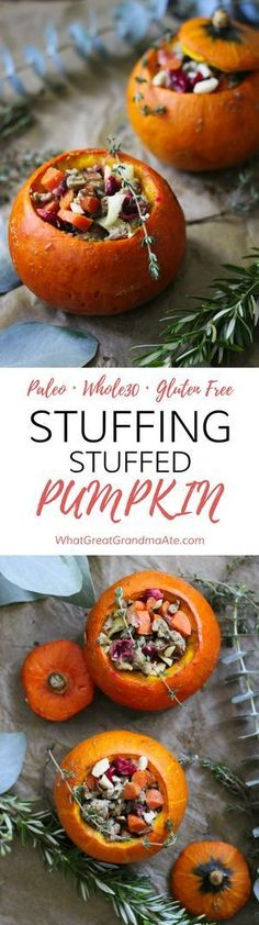 Thanksgiving Stuffing Stuffed Pumpkin - Paleo Gluten Free Whole30