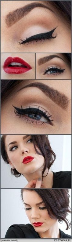 Classic black liner and red lip - timeless #beauty #makeup