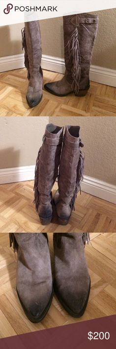 "Carlos by Carlos Santana Ringo Suede Boots Carlos by Carlos Santana Ringo Suede Boots! Taupe with fabulous fringe detail!!  In excellent Condition and Beautiful Boots!! Shaft  approx 18"" and about 2"" heel. Carlos Santana Shoes Heeled Boots"