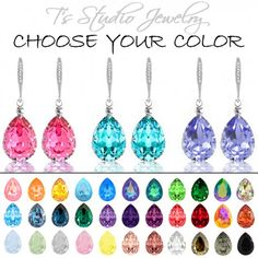 CHOOSE YOUR COLOR Pear Shaped Crystal Bridesmaid Earrings - Silver
