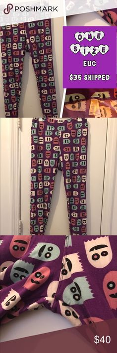 """Lularoe """"PACMAN"""" ghost leggings - TC HALLOWEEN """"PACMAN"""" GHOSTS!  TC - Purple/white/pink/blue colorway (this lighting is awful, I apologize!). EUC - worn once and washed per LLR guidelines. These were super cute on, but I found my halloween unicorn, so I'd love to give these babies a good home! Pants Leggings"""