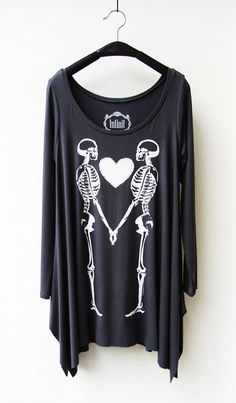 Couple Skeleton - Women Asymmetric Long Top/ Tunic Long Sleeves, Wake-up/coffee shirt.