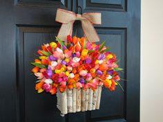 spring wreath, summer wreaths, country, barn, rustic, primitive, welcome wreaths, hydrangea decorations, front door decor, birch bark wreath birch vases  This listing is for beautiful tulip wreath/door arrangement. The perfect front door or wall decor, outdoor front door decorations. A great gift for Easter, Spring, Summer, Mom, Birthday ... This arrangements is made with silk artificial hot pink, pink and white tulips flowers and birch bark hanging basket/container it is finish wit...
