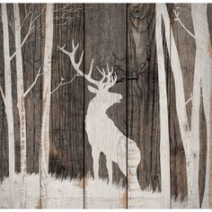 Deer Wood Silhouette Wall Art - Exclusive - A cream stag silhouette contrasts with weathered finishes on this wood wall art with a charming vintage look. Wood Pallet Art, Pallet Painting, Wood Pallets, Painting On Wood, Rustic Painting, Wood Paintings, Pallet Walls, Hirsch Silhouette, Deer Silhouette