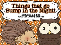 Things That Go Bump in the Night {Nocturnal Animals} Math and Literacy Stations $