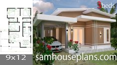 House Plans with 3 bedrooms roof tiles - Sam House Plans Model House Plan, My House Plans, Small House Plans, 2 Bedroom House Plans, Modern Courtyard, Courtyard House Plans, Flat Roof House, Modern Bungalow House, Simple House Design