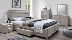 Marietta Fabric Upholstered Queen Bed with 4 Drawers Room Design Bedroom, Bedroom Furniture Design, Bed Furniture, Indian Bedroom Decor, Home Decor Bedroom, Modern Bedroom, Bed Headboard Design, Headboards For Beds, Bed Designs With Storage