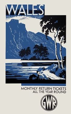 TX440 Vintage British Wales GWR Railway Travel Retro Poster A2/A3/A4