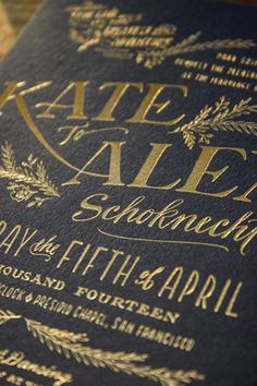 These Rustic Elegant Letterpress Gold Foil Wedding Invitations on Navy paper are perfect for the historic Presidio Chapel in San Francisco. Hand lettered, and printed by Ladyfingers Letterpress.