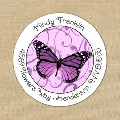 Butterfly Swirls - Custom Address Labels or Stickers by PoshGirlBoutique