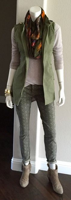 cabi spring '16 Ditsy Skinny & Explorer Vest with fall's Pamper Me Tee, a printed scarf & fringed booties.