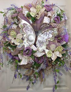 Pastel Wreath, Everyday Wreath, Mesh Wreath, Butterfly, Summer Wreath on Etsy, $120.00