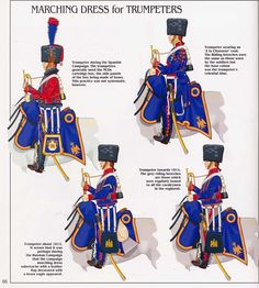 """French; Imperial Guard, Chasseurs a Cheval, Trumpeters in Campaign Dress. from Top Left Clockwise, Trumpeter Spanish Campaign, Trumpeter in """"a la chasseur"""" Coat, Trumpeter c.1814 & trumpeter c.1812"""