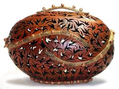 Gourd art by Bonnie MacLeod, Kitchener, Ontario, Canada.