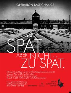 A poster campaign urging the public to help track down the last surviving Nazi war criminals has been launched in Germany. The Operation Last Chance II project is offering cash rewards for information. Workers Party, Operation, History Online, Germany Europe, The Third Reich, Read Later, Last Chance, Political Party, Historical Photos