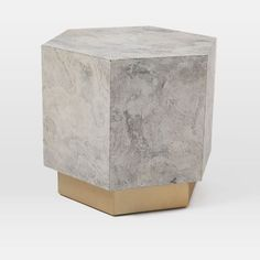 Geo Hex Side Table, Autumn White Slate