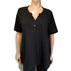 Alia Henley TShirt Top Womens Plus Size 1X Black Buttoned V Neck Short Sleeve #Alia #Basic #Casual Black Button, Online Price, Blouses, Plus Size, Buttons, V Neck, Sleeve, Casual, Mens Tops