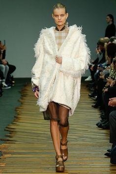Céline F/W 2014, white fur coat, statement earring, vichy print, platform sandals