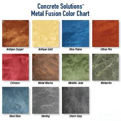 Metal Fusion Kit Color Options Jen, I'm going to order a few sample kits of this product to try this weekend. Storm Gray and Antique copper (please pick me two other colors asap). I'll order, throw it down adn we can decide. Amazing Gardens, Beautiful Gardens, Hayden Homes, Metallic Epoxy Floor, Colored Epoxy, Concrete Floors, Epoxy Concrete, Diy Garden Decor, Garden Decorations