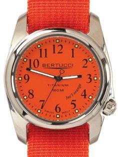 Bertucci A-2T International Orange Watch with Polished Titanium Case 12063