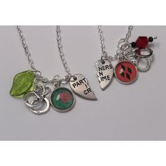 Harley and Ivy BFF Necklace Set DC Comic Inspired Jewelry Harley Quinn... (38 CAD) ❤ liked on Polyvore featuring jewelry, comic book, ivy jewelry, comic jewelry, pendant jewelry and cartoon jewelry