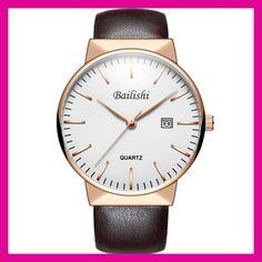 8b2a62c13701 Bailishi Marca relogio masculino Relojes de Cuarzo Reloj de Pulsera  Deportivo de Los Hombres de Negocios Informal Cuero Genuino