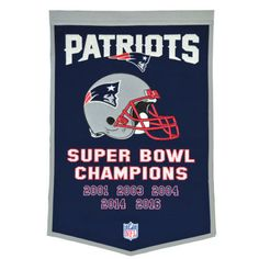 New England Patri... http://www.757sc.com/products/new-england-patriots-5-time-super-bowl-champs-dynasty-banner-24x36-wool-embroidered?utm_campaign=social_autopilot&utm_source=pin&utm_medium=pin #nfl #mlb #nba #nhl #ncaaa #757sc