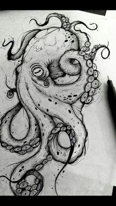 Octopus Design Octopus Tattoo Octopus black and white design sea background . - Octopus Design Octopus Tattoo Octopus Black and White Design Sea Background … – Octopus Design - Octopus Drawing, Octopus Tattoo Design, Octopus Tattoos, Octopus Art, Octopus Sketch, Tattoo Designs, Octopus Painting, Tattoo Ideas, Cute Octopus Tattoo