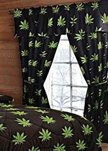 20 Lakes Pot Leaf Print Valance, Panels, Tie Backs Curtain Drape Set Five Pieces Marijuana Decor, My New Room, My Room, Spare Room, Stoner Bedroom, Stoner Style, Leaf Curtains, Glass Pipes And Bongs, Ideas