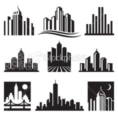 View top quality illustrations of City Buildings Logo Black White Vector Icon Set. Find premium, high-resolution illustrative art at Getty Images. Building Logo, Building Icon, Building Art, Black And White City, Black And White Drawing, Lego Logo, Illustration Art Nouveau, Art Simple, City Icon