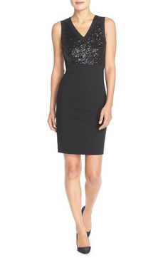 NYDJ 'Colette' Sequin Ponte Sheath Dress available at #Nordstrom