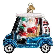 Old World Christmas Golf Cart Santa Glass Blown Ornament