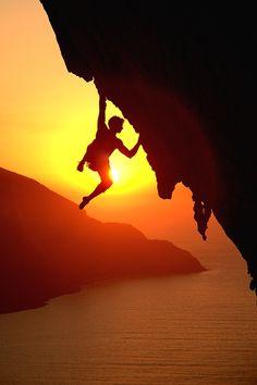CUTTING LOOSE   © Stuart McNeil Rock climbing at sunset above the Aegean Sea
