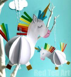 DIY Unicorn ornament - easy paper craft for kids Paper Crafts For Kids, Crafts For Girls, Easter Crafts, Diy For Kids, Fnaf Crafts, Preschool Crafts, Unicorn Ornaments, Diy Ostern, Unicorn Crafts