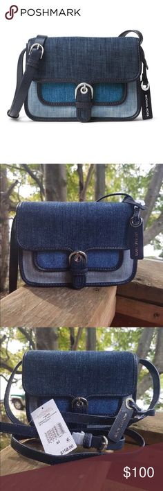"""NWT Michael Kors Small Cooper NWT Michael Kors Small Cooper in Denim! Adorable Crossbody! It's simple with several card slots, full size slip pocket in back and another in front under the buckle accent, closure is by magnetic snap under the flap, the strap drop approx 22.5"""" - 25"""" this cute bag measures approx 7.5 X 5.25 X 2 plz see pics as they're a huge part of the description ❌trades price firm❌ MICHAEL Michael Kors Bags Crossbody Bags"""