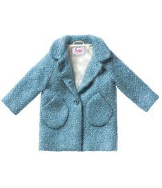 Aquamarine frakke med rund krave