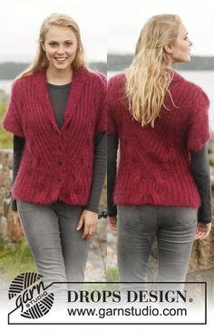 Sophisticated with lovely cables! #knit jacket in DROPS Kid-Silk