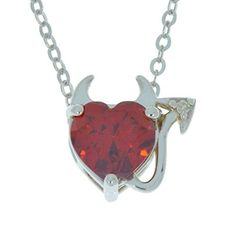 15 Ct Garnet CZ  Diamond Devil Heart Pendant 925 Sterling Silver >>> You can get additional details at the image link.