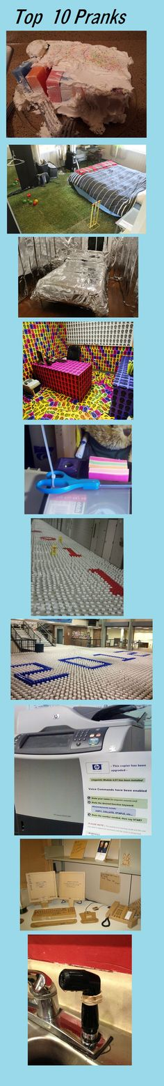 funny office pranks pictures  I shall do the cup one in high school as a senior prank!!!!!