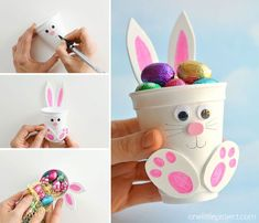 These foam cup bunnies are SO CUTE and simple! Fill them with candy, chocolate eggs, markers, or even small toys. They take less than 10 minutes to make! Easy Easter Crafts, Bunny Crafts, Foam Crafts, Easter Crafts For Kids, Easter Gift, Easter Bunny, Diy For Kids, Easy Crafts, Easter Treats