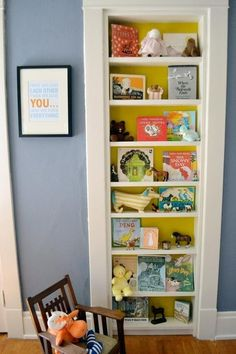 Bookshelves in a kids room