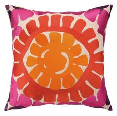 Let the sun in with the beautiful, colorful Trina Turk Throw pillow. The orange and pink will perk up your family room, guest room or sun room. Hand embroidered on linen, zipper closure, down insert i