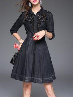 6fb8c08b4ee15 Black Elegant A-line Crocheted Midi Dress Crochet Midi Dress