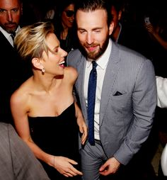 """Scarlett and Chris, """"Age of Ultron"""" press tour."""
