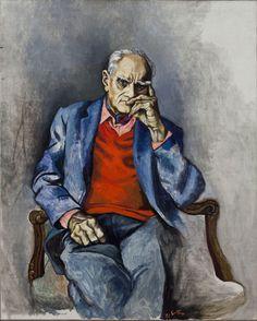 Renato Guttuso (Italian, Ritratto Moravia con maglione rosso [Portrait of Moravia with red sweater], Oil on canvas, 122 x 95 cm.Alberto Moravia was an Italian novelist and journalist.