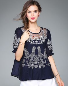 #AdoreWe #VIPme Blouses & Shirts❤️Designer ZERACO Blue Half Sleeve Embroidery Loose Blouse - AdoreWe.com