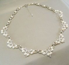 Choice of White or Cream Swarovski Pearl and by BridalDiamantes