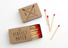 "Such fun ""perfect match"" wedding favors from Alana Jones Mann. So simple and inexpensive for a DIY wedding."