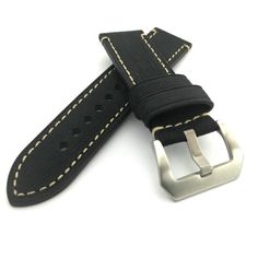Black Textured Crazy Horse Leather Watch Strap Panerai Style (Steel, 22mm, 24mm) #Unbranded